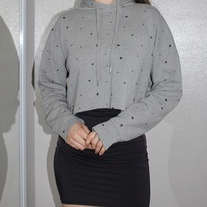 Wild Fable Gray Cropped Gray Star Print Hoodie